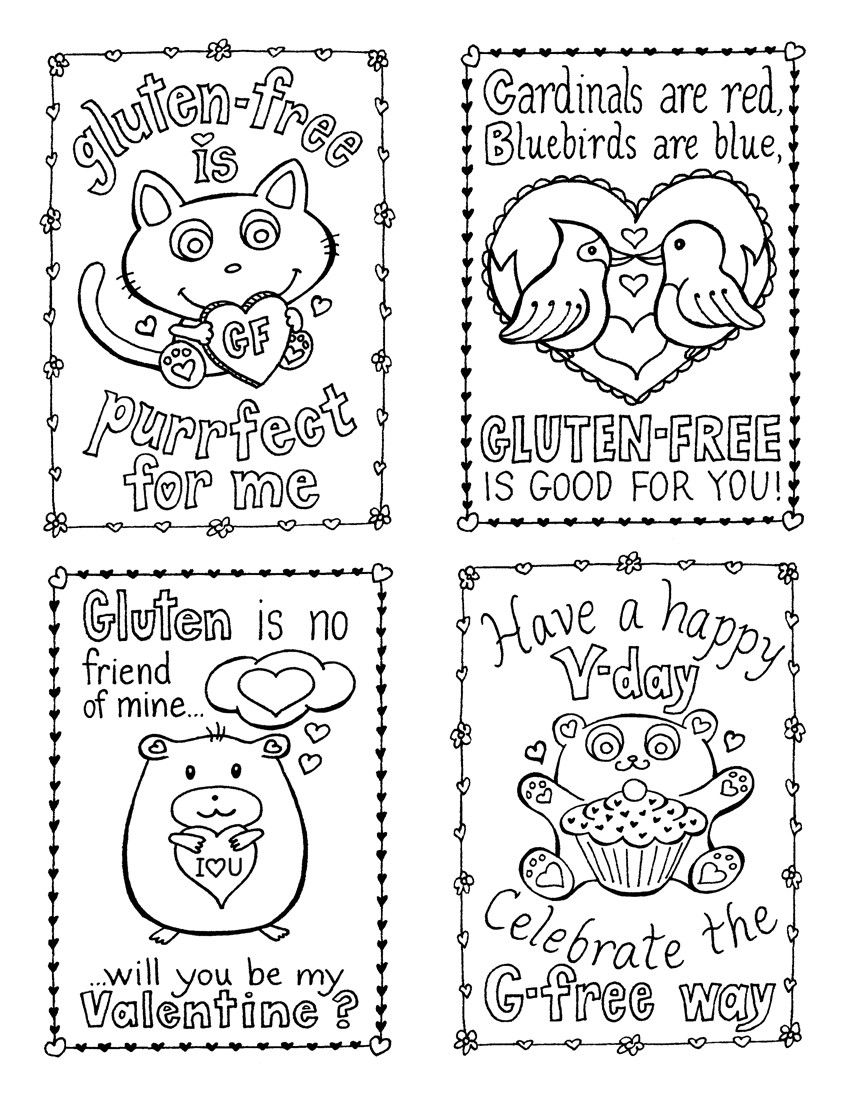 Printable Valentine Coloring Cards Valentine S Day Pinterest