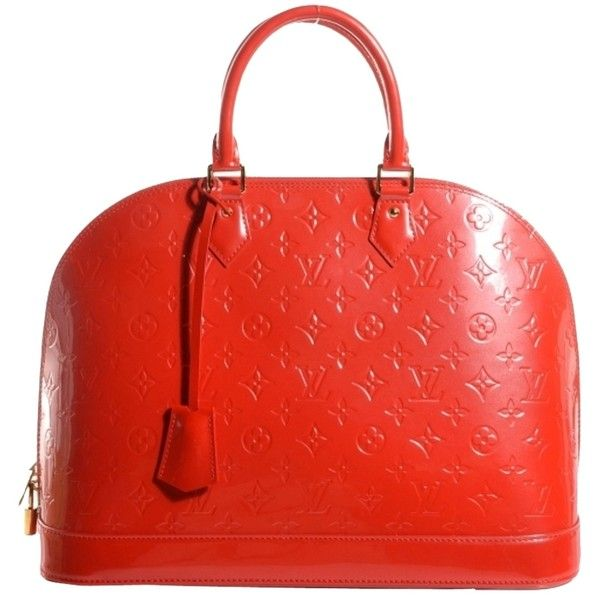 Pre-owned Louis Vuitton Orange Patent Leather Leather Handbag Vernis... (23.875 ARS) ❤ liked on Polyvore featuring bags, handbags, orange sunset, orange leather purse, red leather purse, red patent leather handbag, patent leather handbags and red patent leather purse