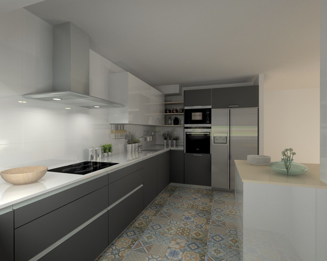 Modelo line e gris y line l blanco encimera silestone - Cocina blanca y gris ...
