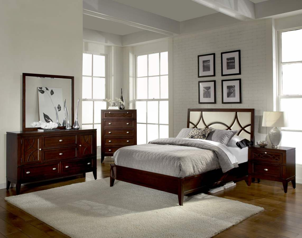 Simpson Brown Cherry Wood Upholstered Fabric Queen Bed ...