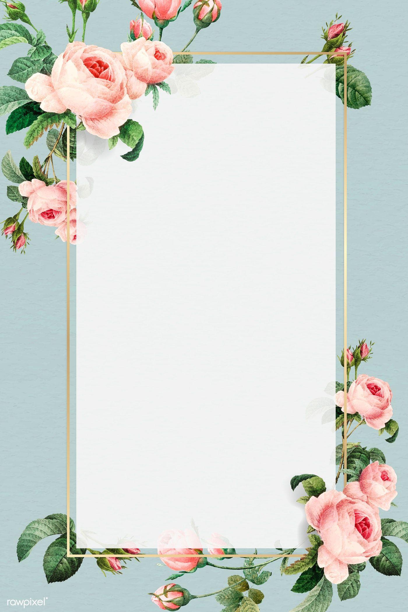 Download Premium Vector Of Golden Rectangle Frame Design Vector 1216055 Flower Background Wallpaper Flower Frame Floral Poster