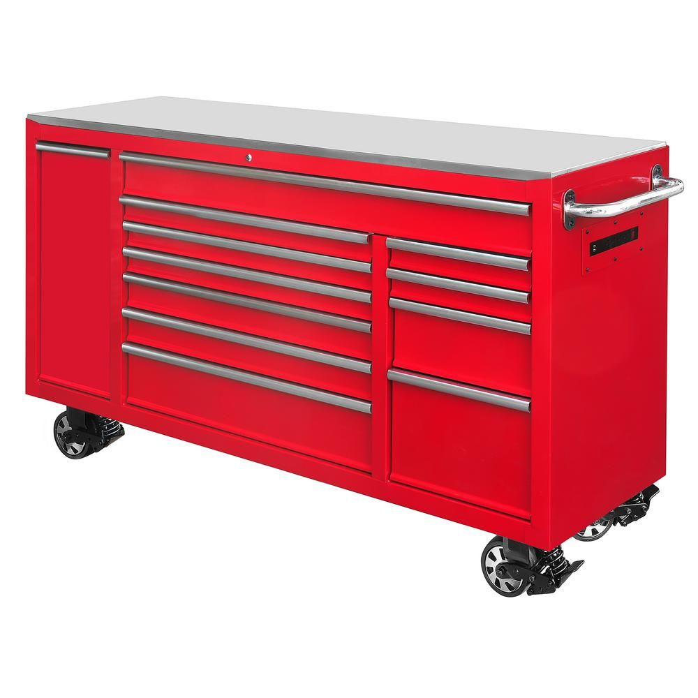 Husky 72 In 12 Drawer Tool Chest Cabinet In Red Tool Chest Tool Storage Mobile Workbench