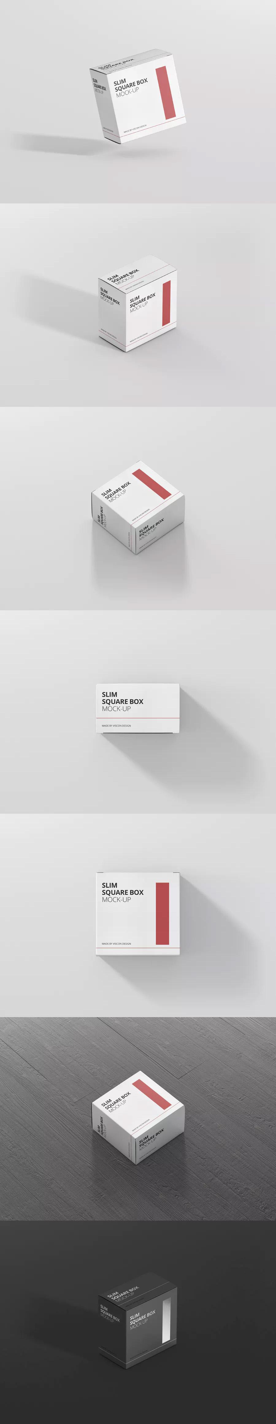 Download Package Box Mockup Slim Square By Visconbiz On Envato Elements Box Mockup Box Packaging Mockup