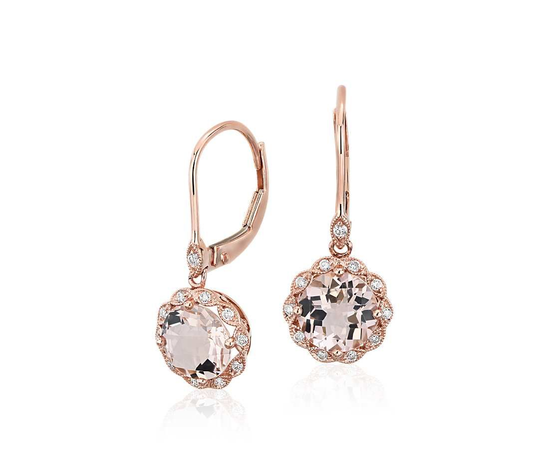 Morganite and Diamond Milgrain Halo Leverback Drop Earrings in 14k
