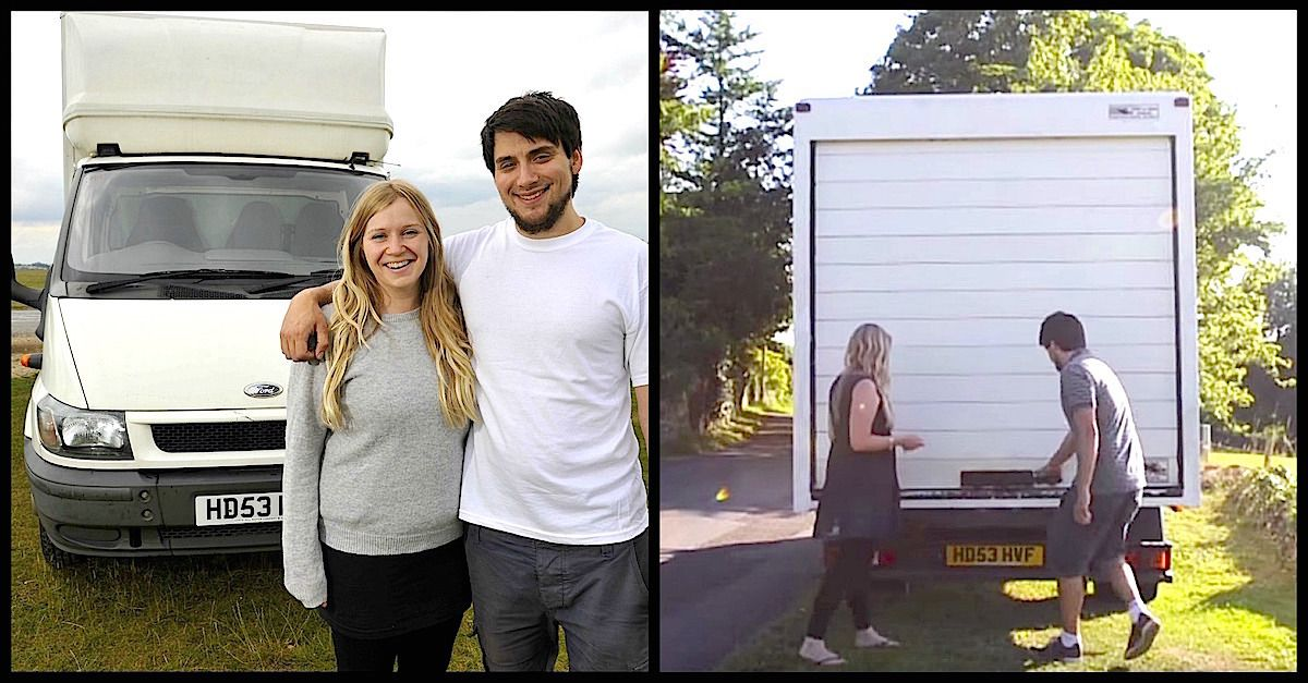 Couple Lives Inside Old White Van After Turning It Into A