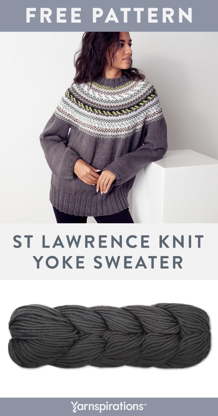 Photo of Free knit pattern using Caron x Pantone yarn. Free knit St Lawrence Knit Yoke Sw…