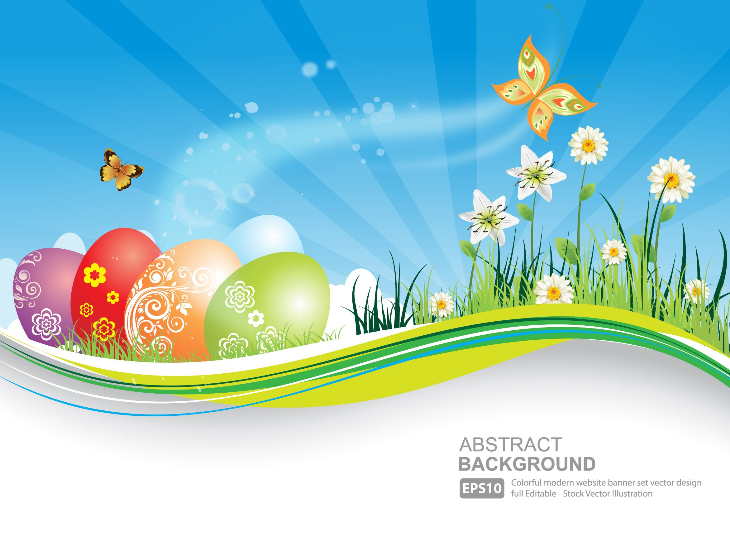 Free Vector Easter Natural Banner With Eggs Background Blue Butterfly Coloring Easter Eggs Easter Backgrounds Easter Eggs