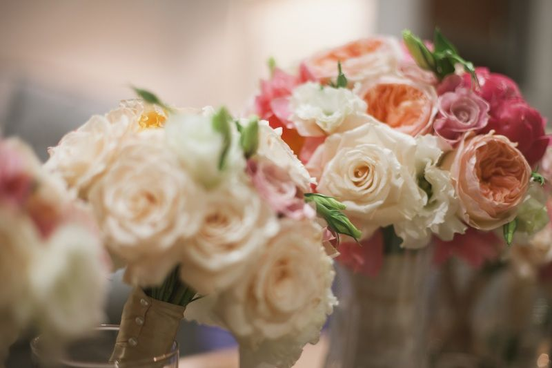GRO Floral and Event Design | Garden Warmth: A Peony for your Thoughts, wedding bridal bouquet coral garden roses peach white pink