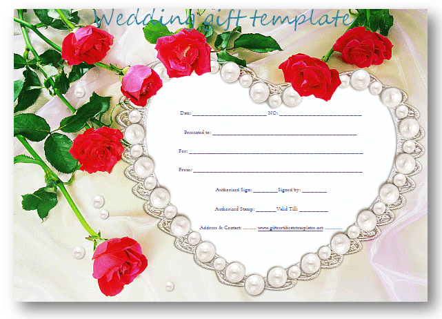 Pearlheartweddinggiftcertificatetemplate 1 – Wedding Gift Certificate Template
