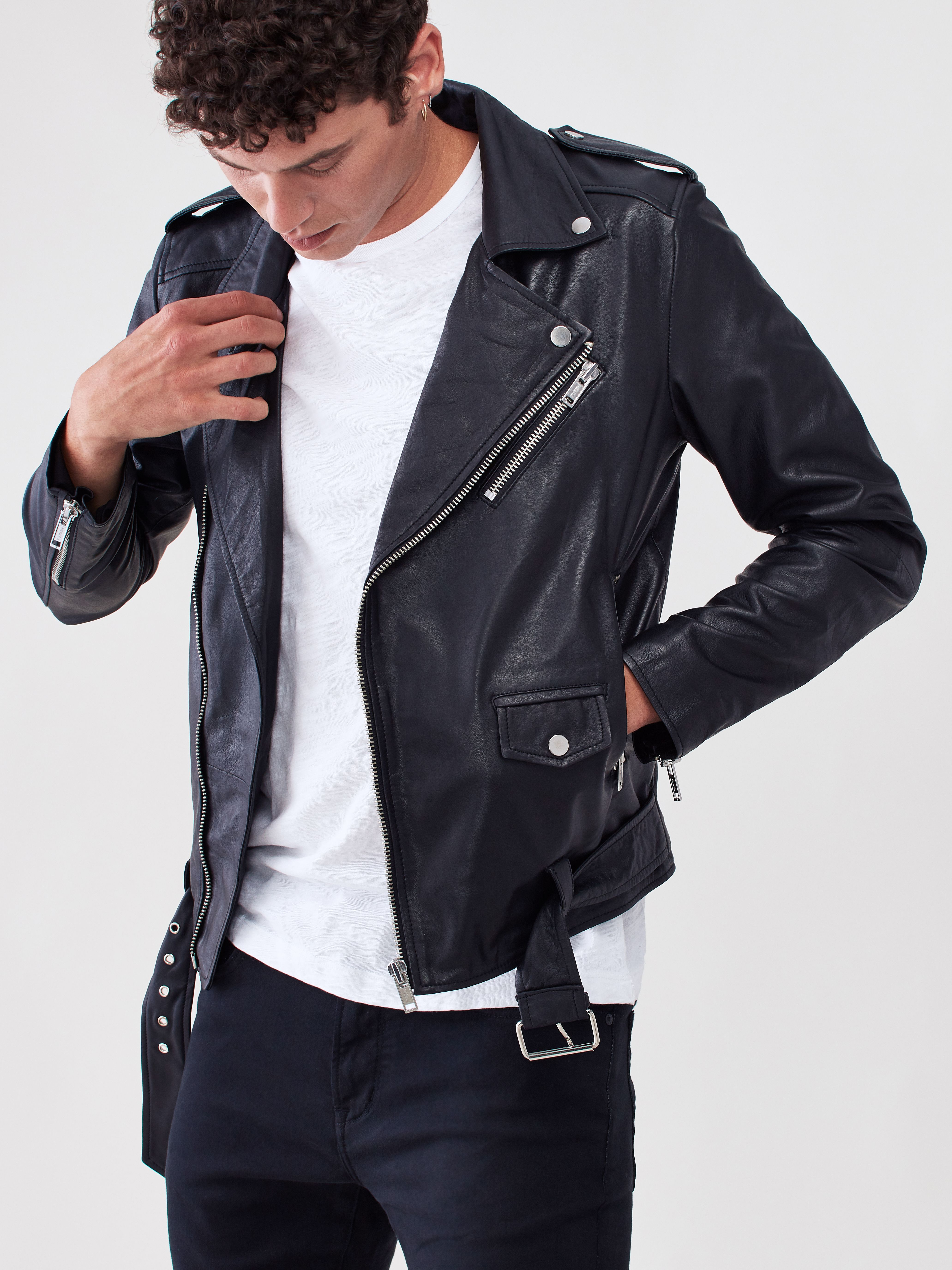 Leather Biker Jacket Black biker jacket, Brown leather