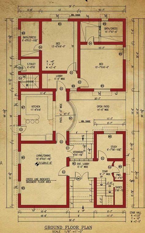 House Floor Plan Pinterest Architecture, House and Apartments - maison de 100m2 plan