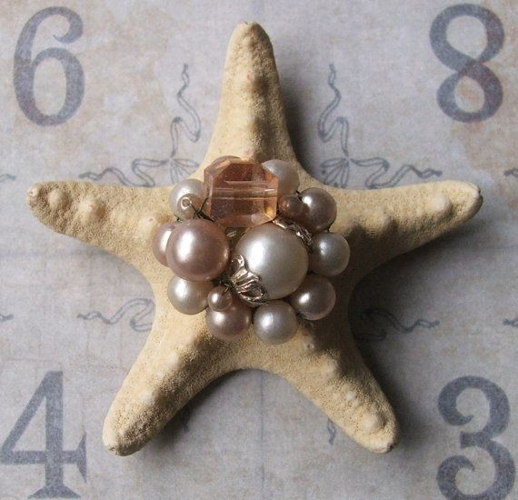 Vintage Pearl Earring Bejeweled Starfish, Inspirational Bridal Gift, Beach Cottage Coastal Style, Beach Wedding Table Decor