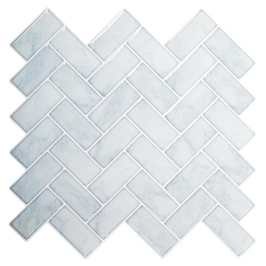 Truu Design Truu Design Self Adhesive Peel And Stick Herringbone Wall Tiles 10 X 10 In Light Blue 6 10283 Herringbone Wall Tile Herringbone Wall Wall Tiles