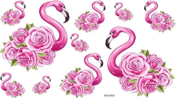 A full sheet of vintage style XL PinK FLaMinGo WiTh RoSeS DECALS.You will receive 2 XL decals each measuring 5.5