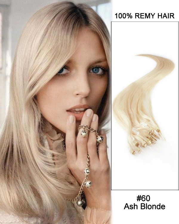 16 60 Ash Blonde Straight Micro Loop 100 Remy Hair Human Hair