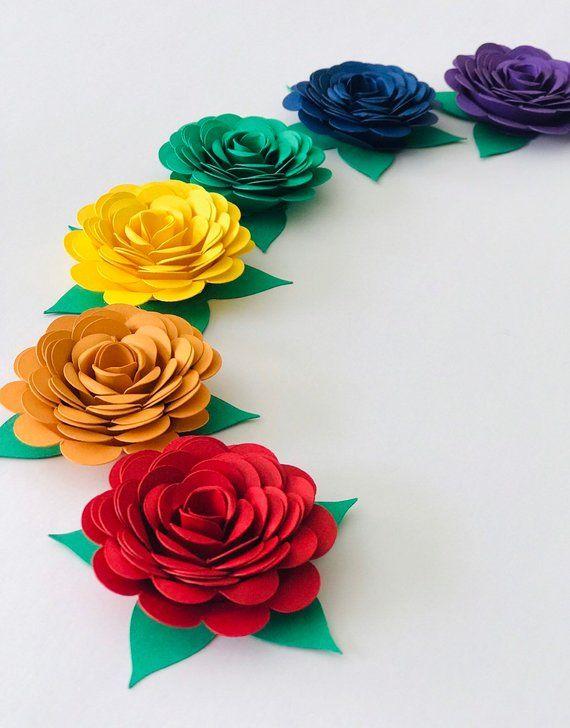 Rainbow Paper Flowers Rainbow Party Decor Etsy The Scarlett