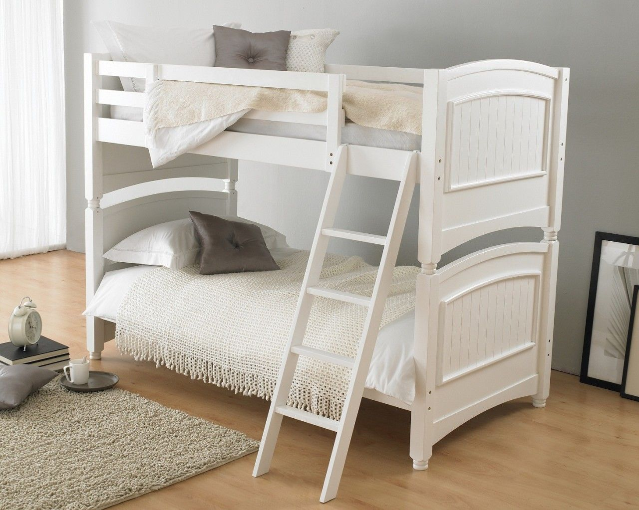 Hyder Colonial White Hardwood Bunk Bed Wooden bunk beds