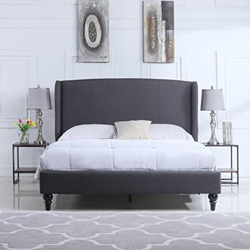 Classic Deluxe Linen Platform Bed Frame with Upholstered Shelter ...