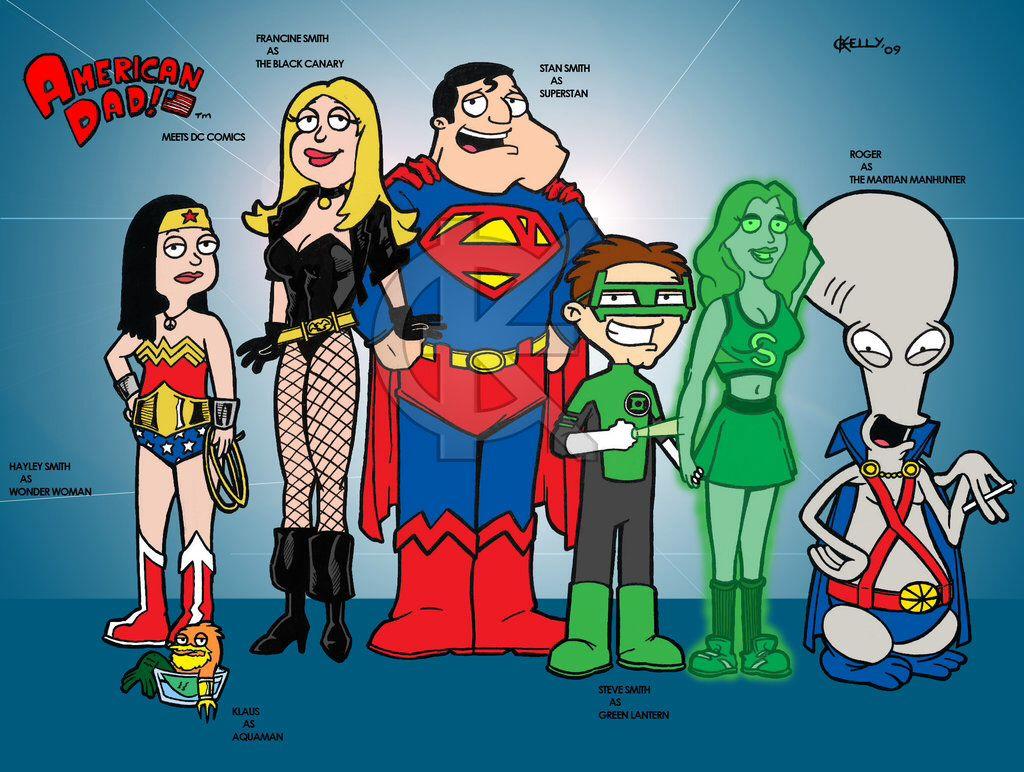 American Dad meets DC comics | American dad, The simpsons guy, American mom