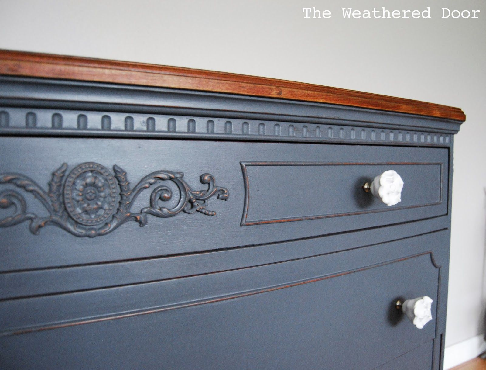 The Weathered Door A French Grey Dresser With A Wood Top Grey Dresser Grey Painted Dresser Antique Bedroom Furniture [ 1217 x 1600 Pixel ]