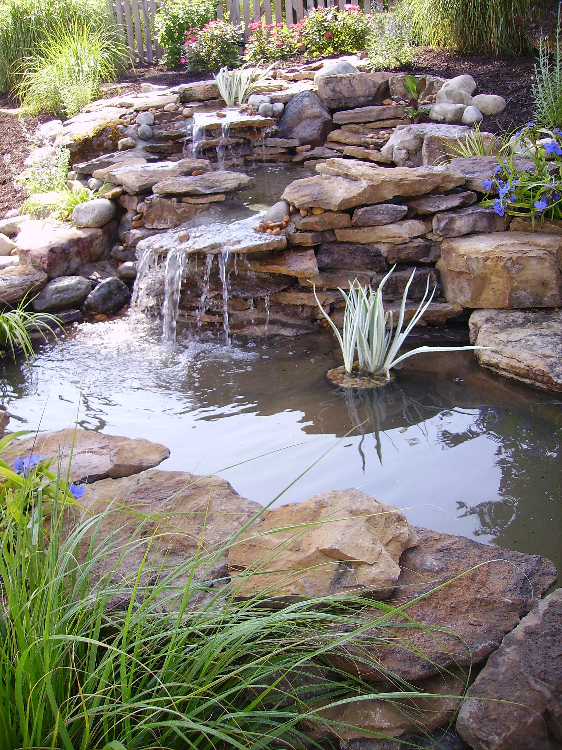 A tiered pond and waterfall is another great option for