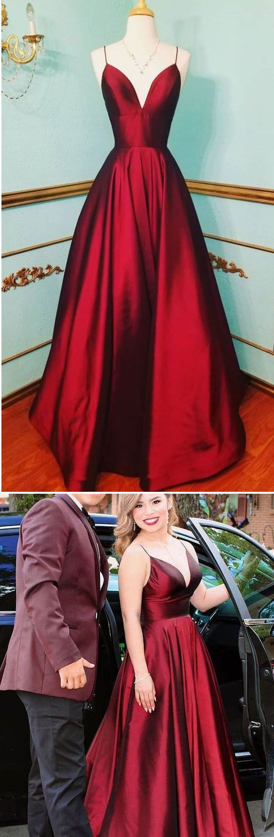 Elegant a lien satin spaghetti long prom dresses red pl prm