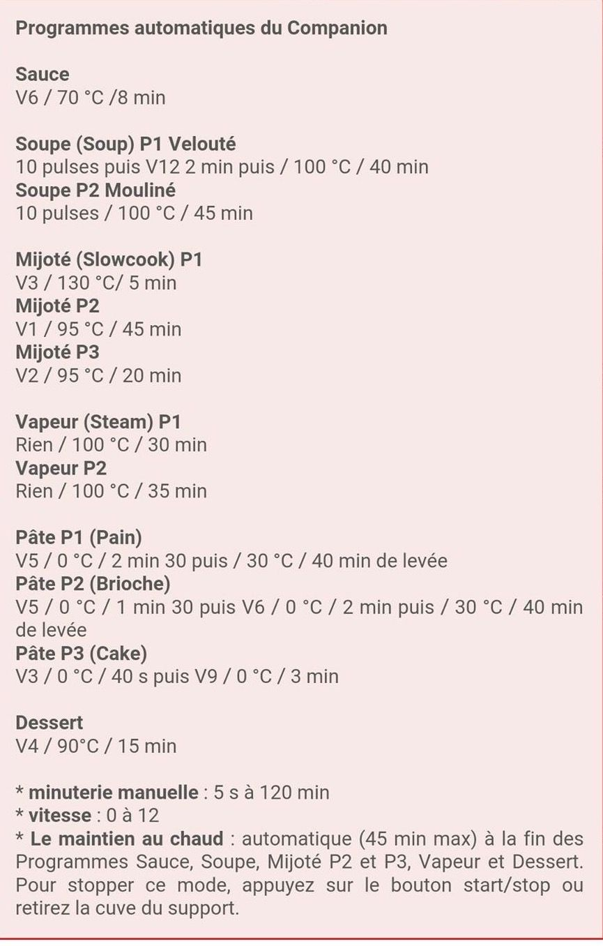 recette companion moulinex recette
