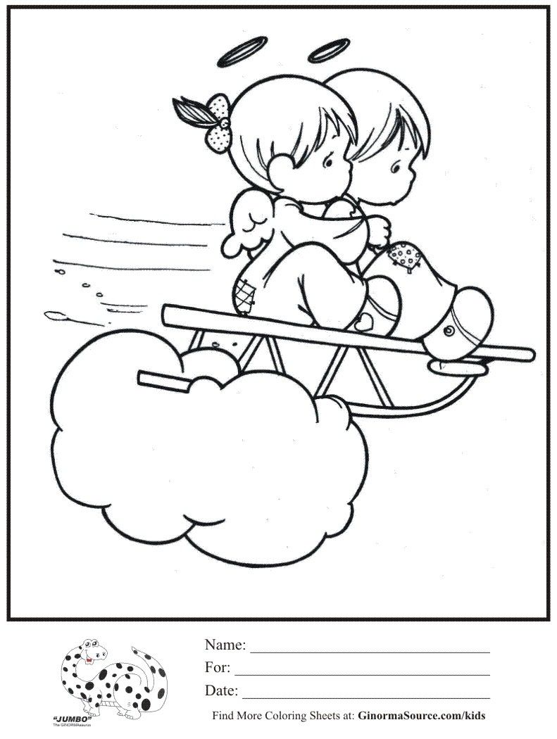 Kids coloring page 2 Angels Sledding Cloud Precious Moments ...