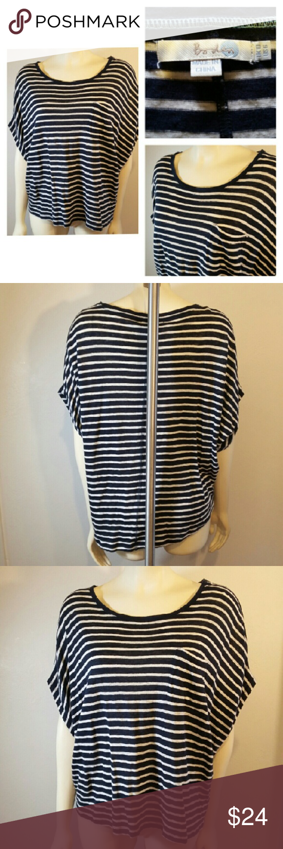 Nautical Themed HI Lo Striped Top Boden Women's Hi Lo Size 6 US 10 UK Blue & White Striped Top Shirt Nautical Theme 100% Linen Machine wash delicate Dry flat  22 inch long front 24 inch long back 12 inches across back 21 inches wide  Please email me with any questions Smoke Free Fast Shipping Thank You and Happy Poshing! Boden Tops
