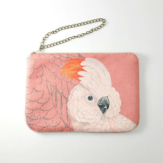 Salmoncrested cockatoo  zipper purse pouch/ by ElevenRoosters, $37.00