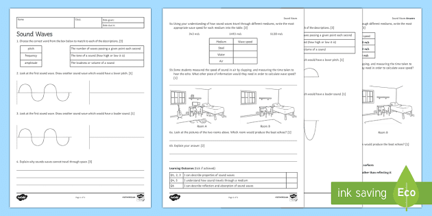 Sound Waves Homework Activity Sheet