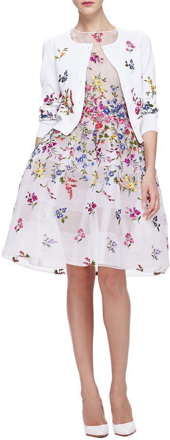 Oscar de la Renta English Garden Embroidered Organza Dress, White