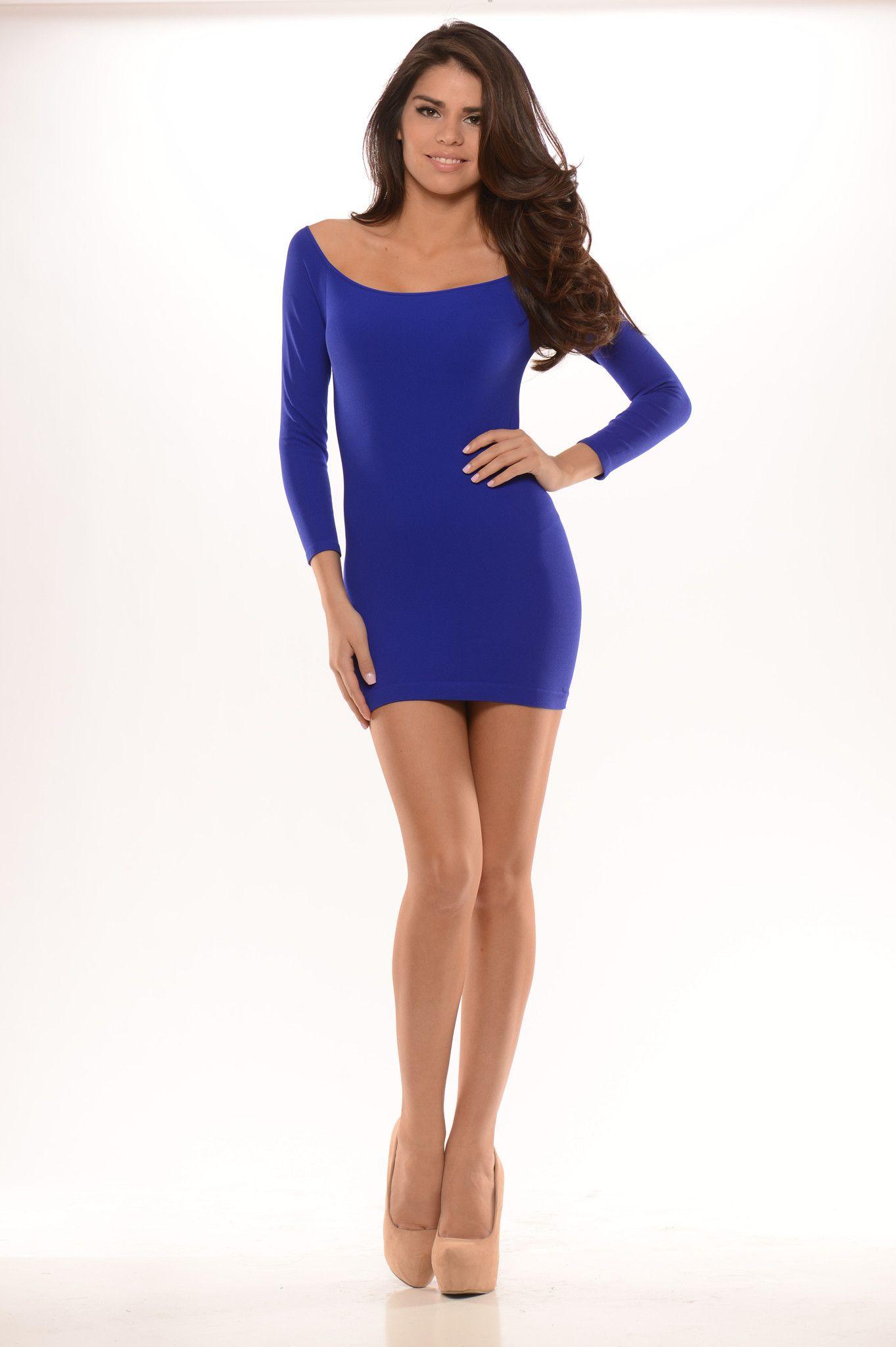 Long Sleeve Fitting Mini Dress - Royal Blue
