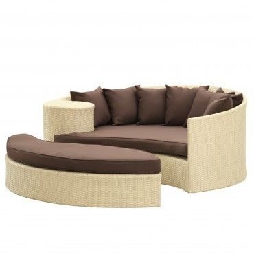 Tan Brown Modern Taiji Daybed - Patio - Office/Patio