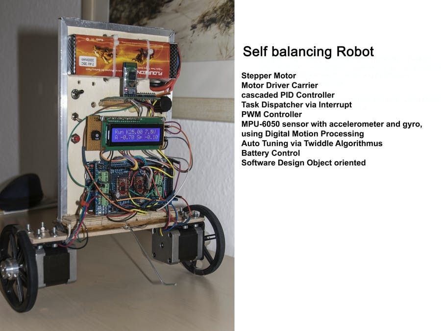 Two Wheeled Self Balancing Robot With Stepper Motor With Images