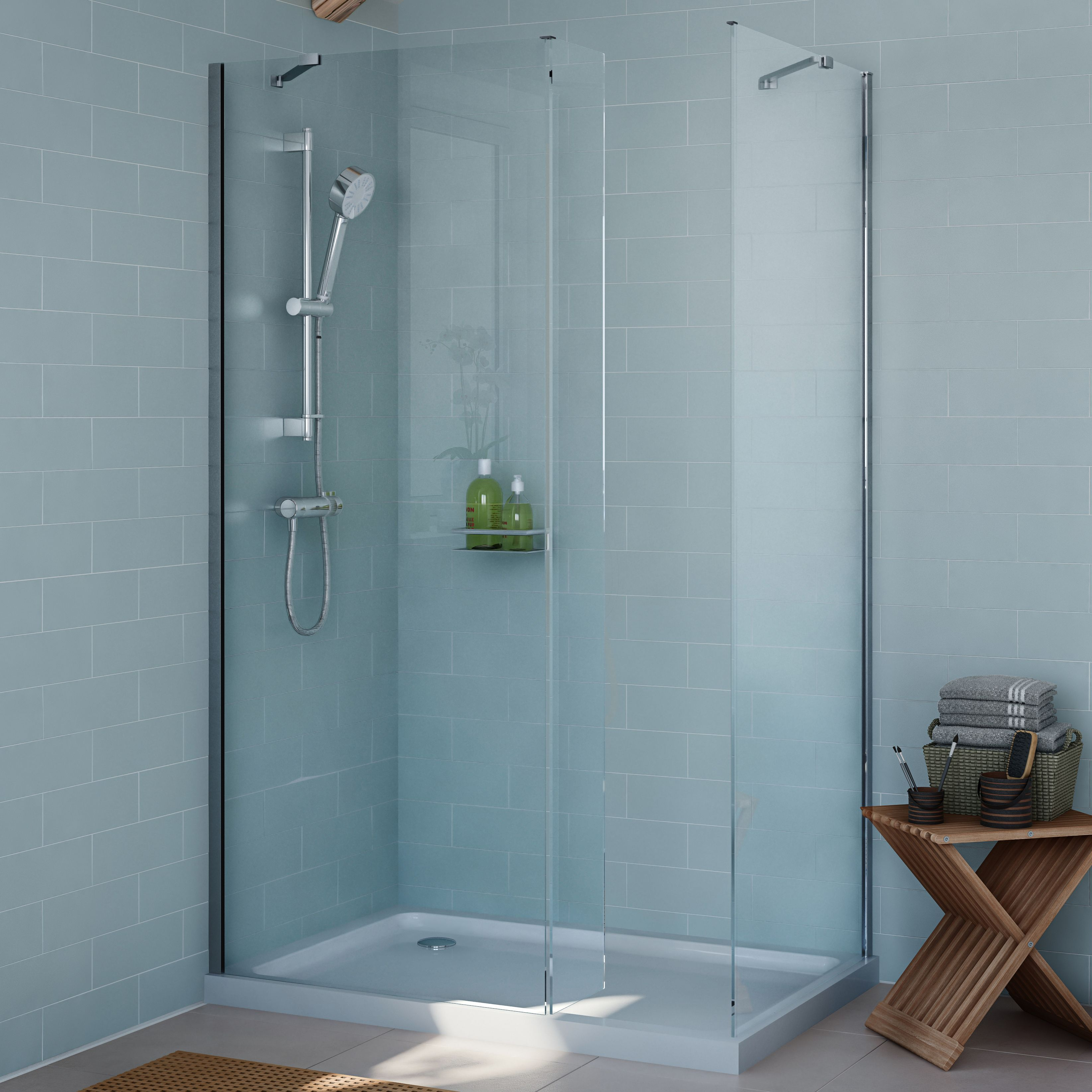 Cooke & Lewis Exuberance Rectangular Shower Enclosure with Walk-In ...