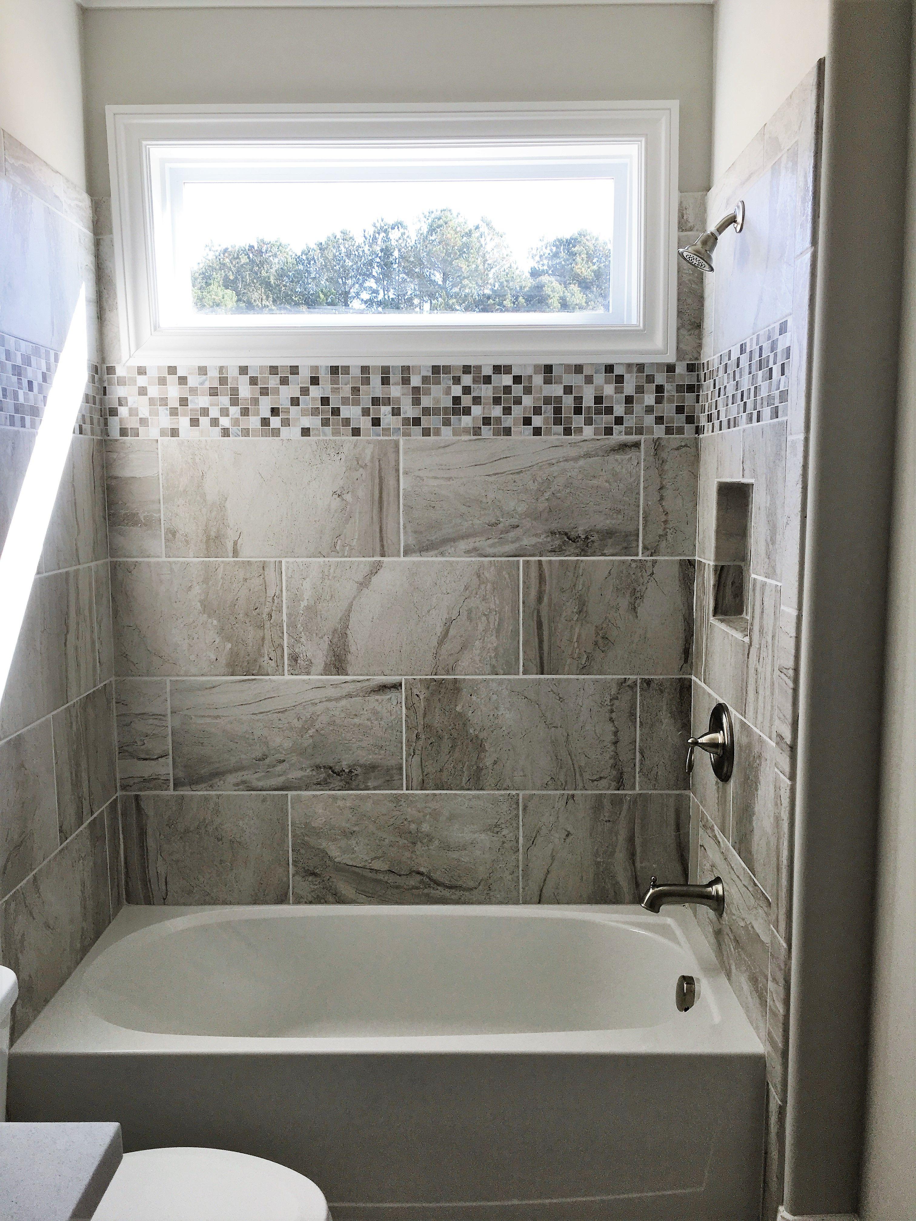 12x24 Amalfi Stone Bianco Scala Tile Installed Horizontally On A Brick Pattern Black And White Tiles Bathroom Rustic Bathroom Designs Rustic Bathroom Shelves