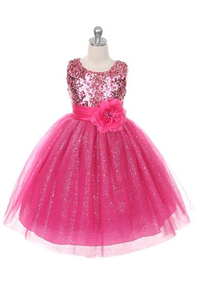 Children's Girls Fuchsia Sequin Special Occasion Dress by The Rain Kids, Sizes 2-12 via Alyssa's Garden: A Clothing Boutique for Baby, Toddler,