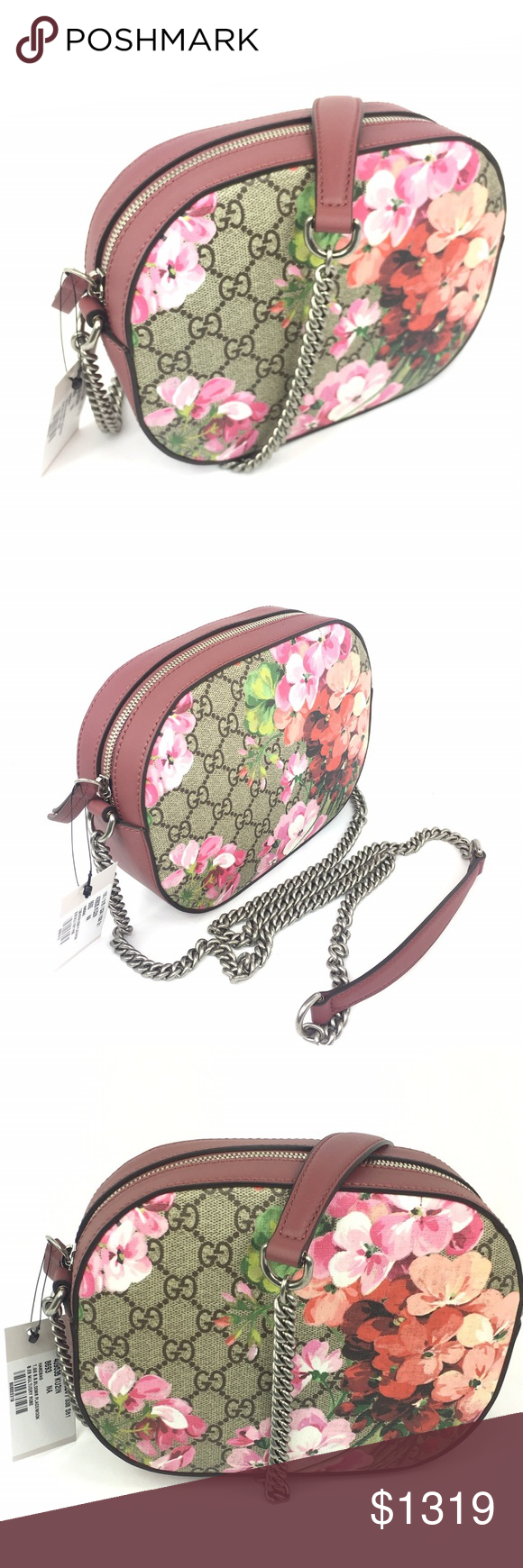 cc81e8af5 #409535 GG Supreme Bloom Crossbody with Bloom Box * Crossbody Style Bag *  Beige/Ebony GG Supreme Coated Canvas Exterior with Blooms Pattern * Rose  Colored ...