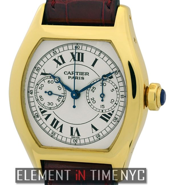 Cartier Tortue Monopulsante Chronograph 34mm iN 18k Yellow Gold With A Silver Roman Dial (W1543551)