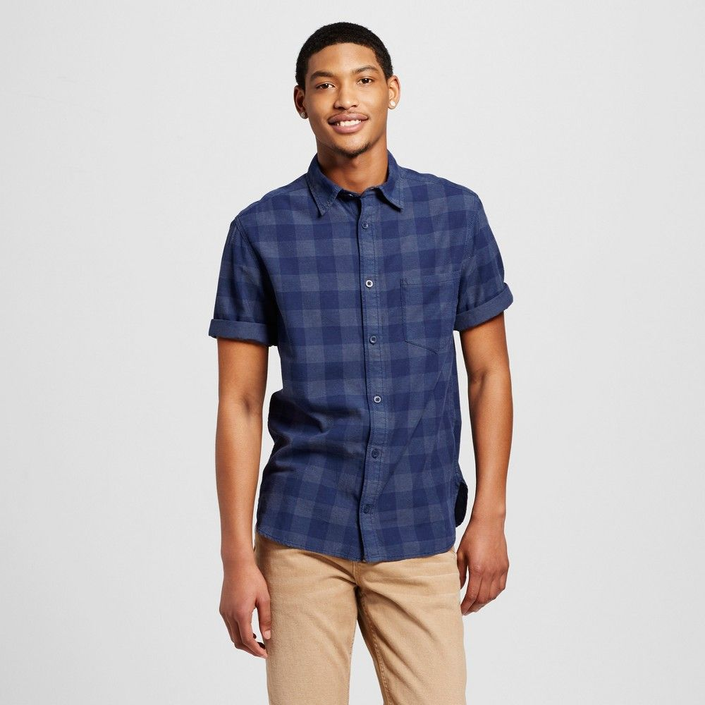 Men's Button Down Short Sleeve Shirt Navy (Blue) M - Mossimo Supply Co.
