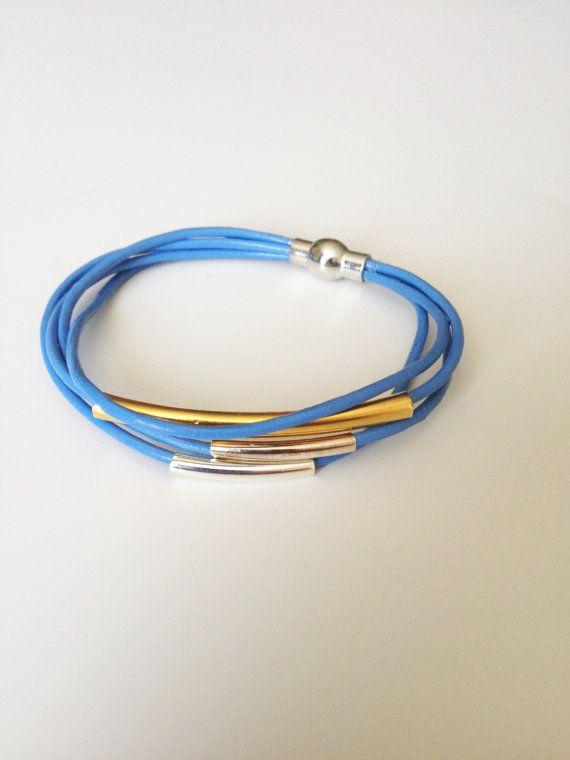 Blue Leather Bracelet - Blue Multi Strand Leather Bracelet - 4 Strand Leather Bracelet - Magnet Clasp Leather Bracelet - Stocking Stuffer