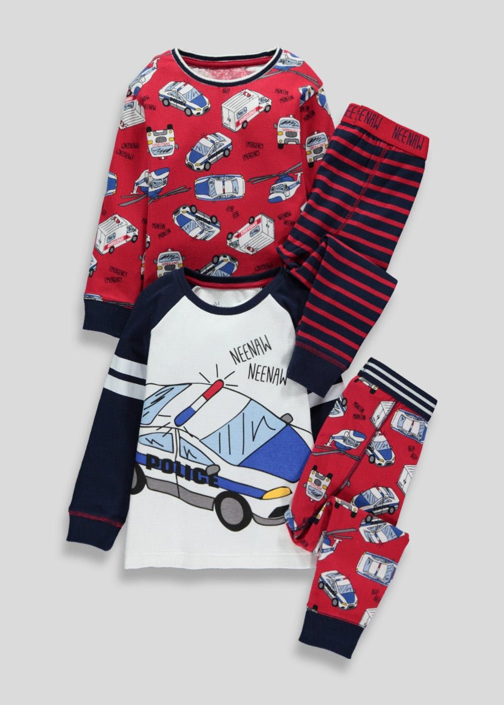 e2515c143506d Boys 2 pack long sleeve pyjama with transport print in red and navy.