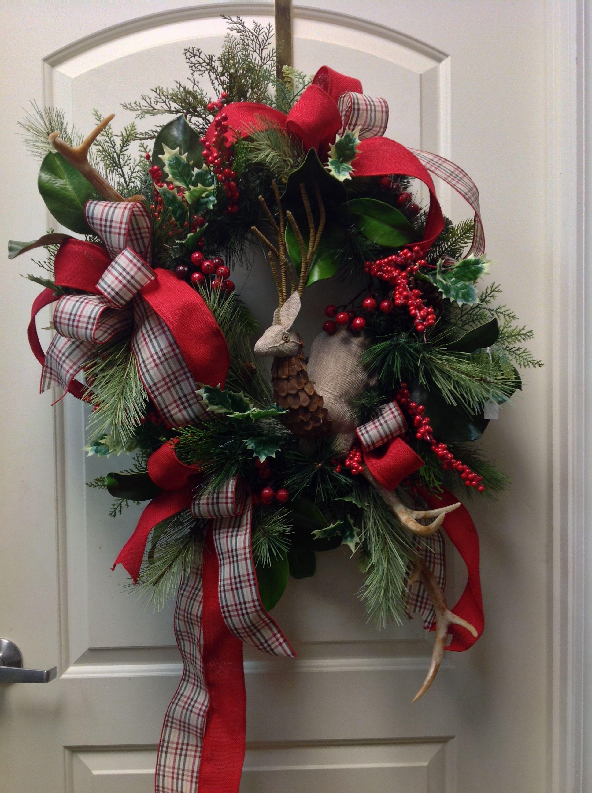 Christmas wreath with deer antlers christmas pinterest for Antler christmas wreath