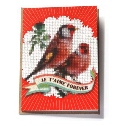 Je T'Aime Forever Cross-Stitch Greeting Card