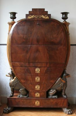Antique lyre-shaped secretary. Mahogany and sycamore. Probably Biedermeier.