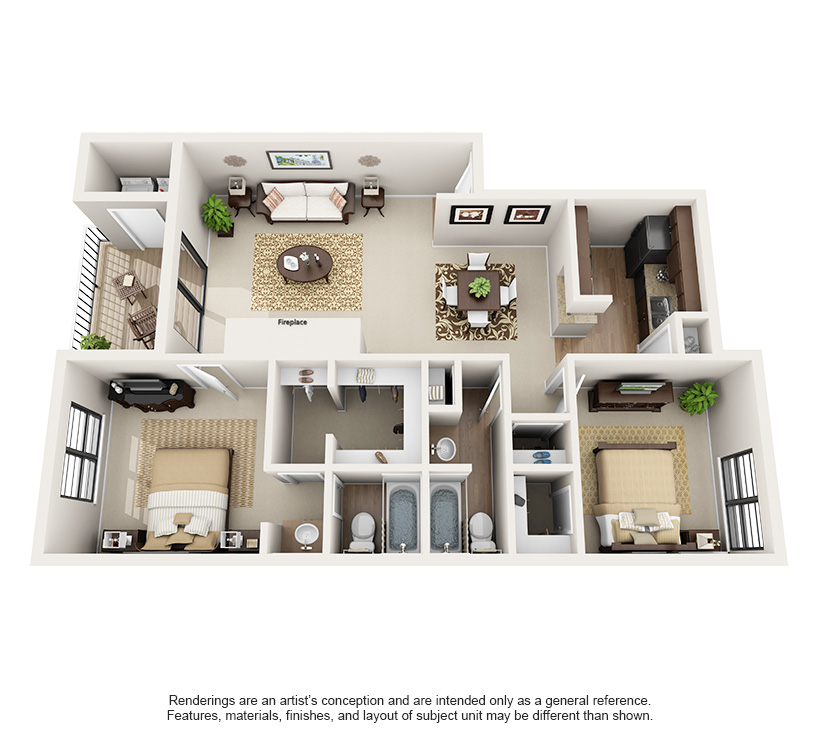One and Two Bedroom Apartments in Austin, TX Layouts