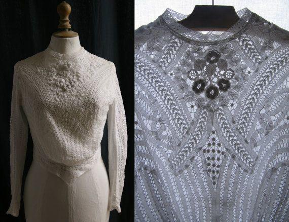 Ancien corsage blancpetite taille crochet par SergineBroallier