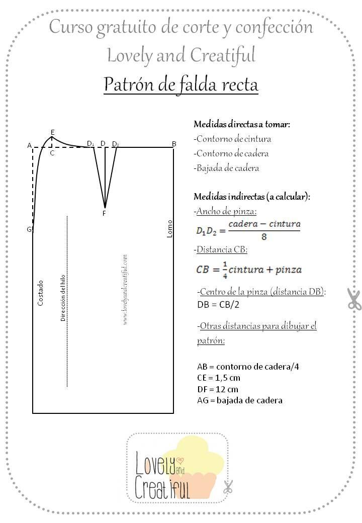 Trazado de patrones base para falda | medidas y confección ...