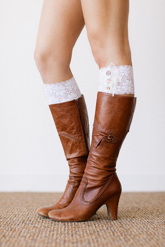 We made boot cuffs beautiful and the perfect item to top off your boots. With stretch lace and vintage buttons these faux lace leg warmers will be